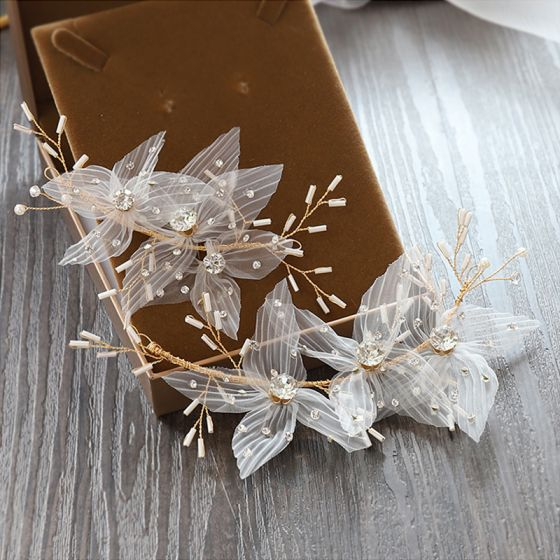 Chic / Beautiful Gold Headpieces Bridal Hair Accessories 2020 Alloy Silk Flower Beading Rhinestone Wedding Accessories