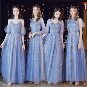 Affordable Ocean Blue See-through Bridesmaid Dresses 2020 A-Line / Princess Backless Glitter Tulle Floor-Length / Long Ruffle