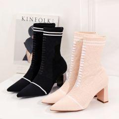 Schöne Schwarz Freizeit Flechten Stiefel Damen 2020 7 cm Thick Heels Spitzschuh Stiefel
