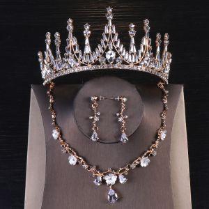 Vintage Oro Joyas 2020 Metal Rhinestone Pendientes Tiara Tocados de novia