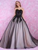 Fashion Sweetheart Prom Dresses 2016 Beading Rhinestones Long Black Tulle Prom Dress With Tailing