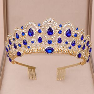 Vintage / Retro Royal Blue Tiara 2020 Alloy Rhinestone Bridal Hair Accessories