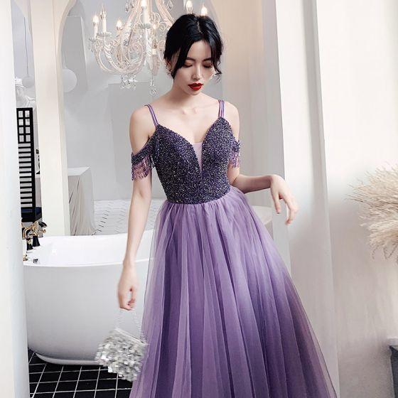 Charmig Purple Balklänningar 2021 Prinsessa Spaghettiband Beading Kristall Tassel Ärmlös Halterneck Långa Formella Klänningar