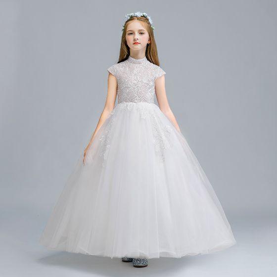 Vintage / Retro White Flower Girl Dresses 2020 Ball Gown High Neck Sleeveless Appliques Lace Floor-Length / Long Ruffle