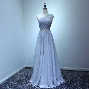 Modest / Simple Grey Evening Dresses  2017 A-Line / Princess Floor-Length / Long Cascading Ruffles One-Shoulder Sleeveless Backless Rhinestone Sash Glitter Formal Dresses