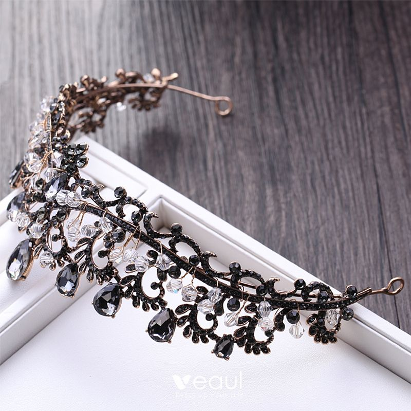 Amazing / Unique Black Bridal Jewelry 2017 Metal Beading Crystal Rhinestone Headpieces Wedding Prom Accessories