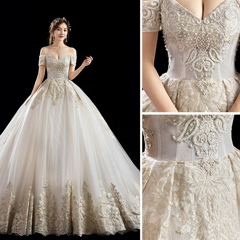 Luxury / Gorgeous Champagne Wedding Dresses 2019 A-Line / Princess Off-The-Shoulder Beading Pearl Sequins Lace Flower Short Sleeve Backless Cathedral Train