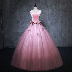 Vintage / Retro Candy Pink Prom Dresses 2019 Ball Gown V-Neck Suede Pearl Appliques Sleeveless Backless Floor-Length / Long Formal Dresses