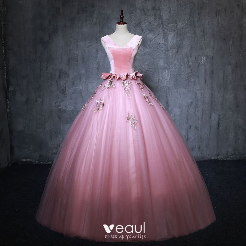 f0f8df5335 vintage-retro-candy-pink-prom-dresses-2019-ball-gown-v-neck-suede-pearl- appliques-sleeveless-backless-floor-length-long-formal-dresses-800x800.jpg