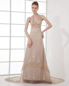 Fashion Organza Embroidery Halter Floor Length Celebrity Dress