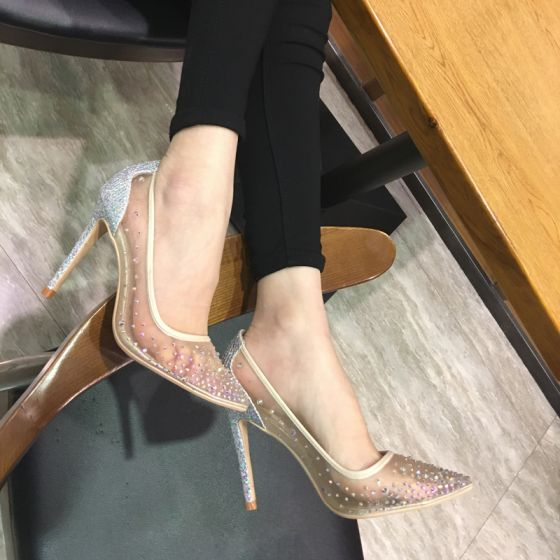Schöne Nude Ball Pumps 2018 Strass Pailletten Leder 10 cm Stilettos Spitzschuh Pumps