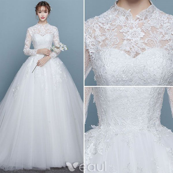 Vintage Wedding Dresses 2017 High Neck Long Sleeves Applique Lace Bridal Gowns
