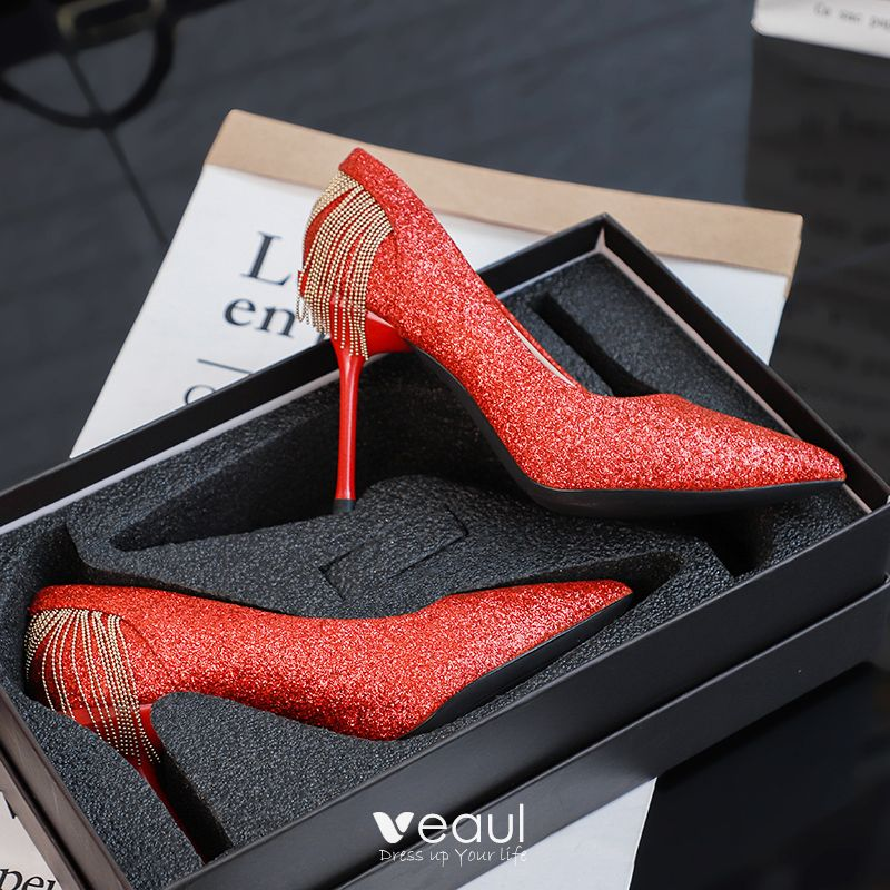 Charming Red Wedding Shoes 2019 Sequins Tassel 10 cm Stiletto Heels Pointed Toe Wedding Pumps