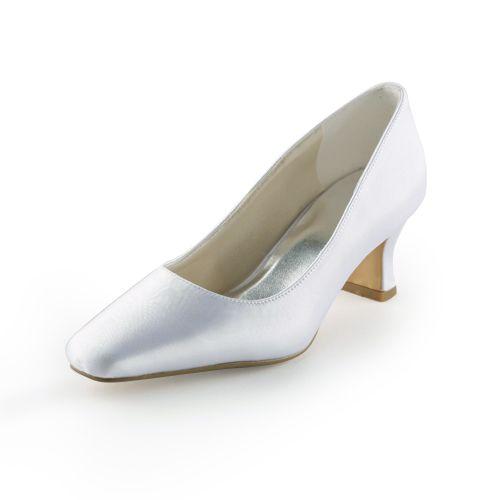 Pumps Satin Blanc Classique À Faible Talon Chaussures De Mariée