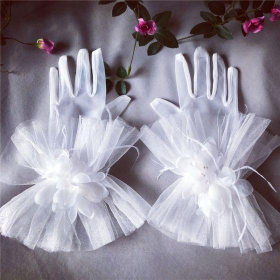 Blomsterfe Hvit Brudehansker 2020 Appliques Fjær Blomst Tyll Ball Bryllup Tilbehør