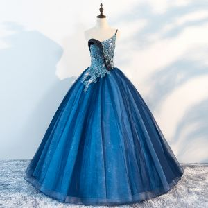Amazing / Unique Ocean Blue Prom Dresses 2018 Ball Gown One-Shoulder Sleeveless Appliques Flower Beading Pearl Floor-Length / Long Ruffle Backless Formal Dresses