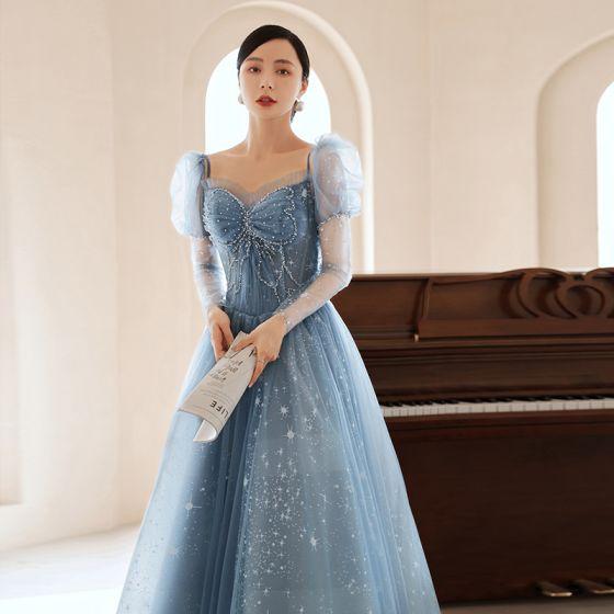 Modern / Fashion Sky Blue Beading Pearl Prom Dresses 2021 A-Line / Princess Square Neckline Short Sleeve Backless Floor-Length / Long Formal Dresses