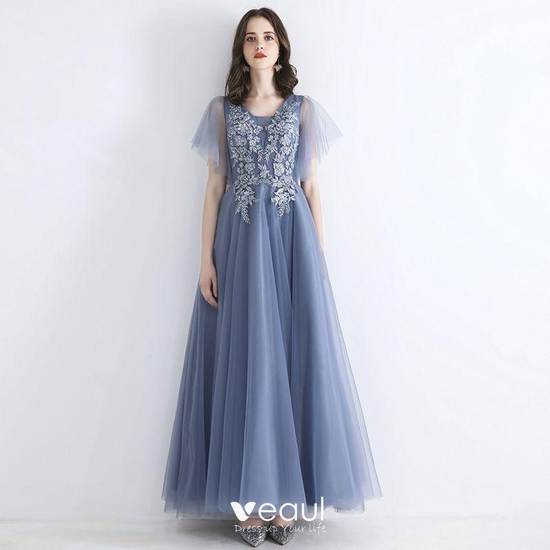 Hermoso Azul Cielo Vestidos de noche 2019 A Line Princess