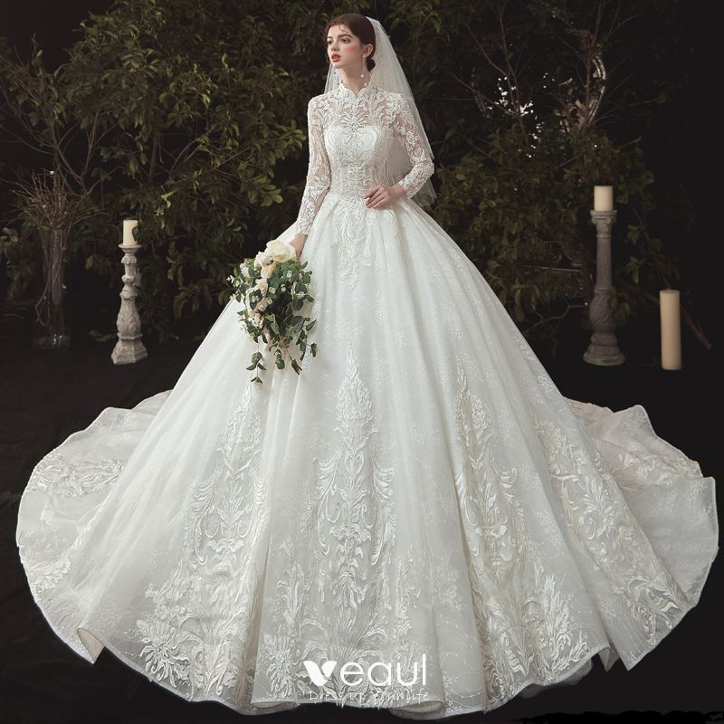 Vintage / Retro Chinese style Modest Ivory Bridal Wedding Dresses 2020 Ball  Gown High Neck Pearl Lace Flower Long Sleeve Backless Cathedral Train