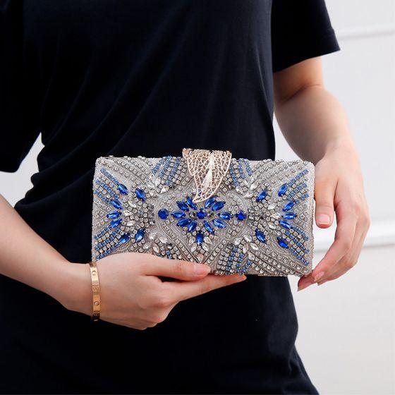 Elegant Royal Blue Rhinestone Square Clutch Bags 2020 Metal Beading