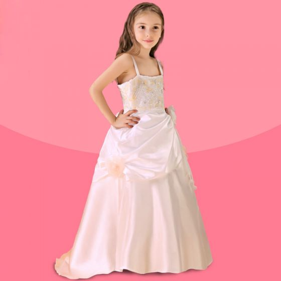 Beige Blumenmädchenkleid Rock Prinzessin Kleid Kommunionkleider