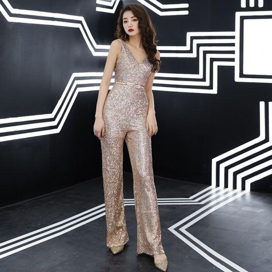 Sparkly Rose Gold Sequins Jumpsuit 2019 V-Neck Sleeveless Metal Sash Floor-Length / Long Backless Evening Dresses