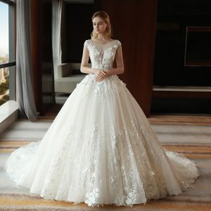 Chic / Beautiful Ivory Pierced Wedding Dresses 2018 Ball Gown Scoop Neck Sleeveless Backless Appliques Flower Lace Pearl Sequins Royal Train Ruffle