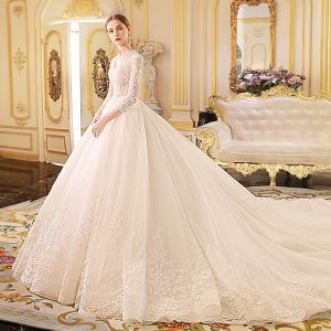 Elegant Ivory Wedding Dresses 2019 A-Line / Princess V-Neck See-through 3/4 Sleeve Appliques Lace Beading Chapel Train Ruffle
