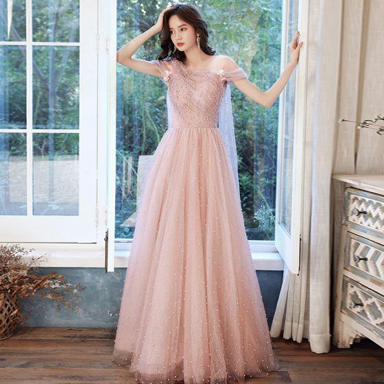 Lovely Pearl Pink Pearl Prom Dresses 2021 A-Line / Princess V-Neck Short Sleeve Backless Floor-Length / Long Formal Dresses