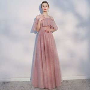 Chic / Beautiful Casual Pearl Pink Evening Dresses  2018 A-Line / Princess Spaghetti Straps Backless Short Sleeve Floor-Length / Long Formal Dresses