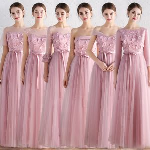 Affordable Blushing Pink Bridesmaid Dresses 2019 A-Line / Princess Sash Appliques Lace Floor-Length / Long Backless Ruffle Wedding Party Dresses