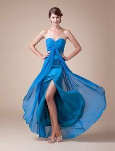 Attrayant Empire Chérie Perlage Plissée Bleu Robe De Bal