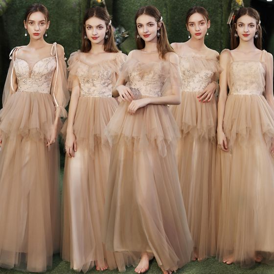Affordable Champagne Bridesmaid Dresses 2020 A-Line / Princess Appliques Sequins Backless Floor-Length / Long Ruffle