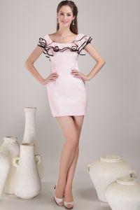 2015 Schöne Rosa Kurzen Cocktailkleid Partykleid