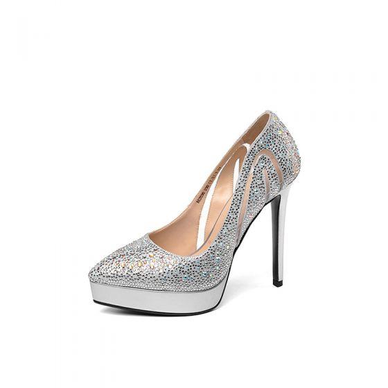Modern / Fashion Silver Evening Party Pumps 2019 See-through Rhinestone 12 cm Stiletto Heels Pointed Toe Pumps