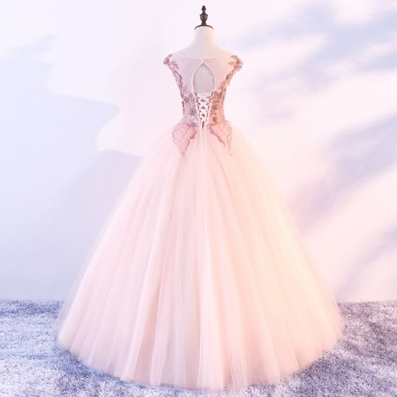 Chic / Beautiful Pearl Pink Prom Dresses 2018 Ball Gown Scoop Neck Cap Sleeves Appliques Flower Beading Floor-Length / Long Ruffle Backless Formal Dresses