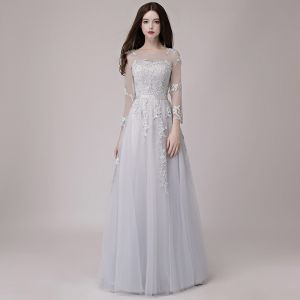 Affordable Grey See-through Prom Dresses 2018 A-Line / Princess Scoop Neck Long Sleeve Appliques Lace Sash Floor-Length / Long Ruffle Backless Formal Dresses