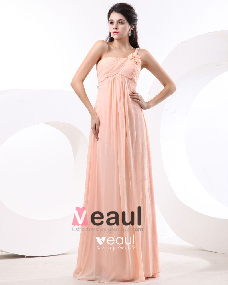 A-line One Shoulder Floor-Length Satin Chiffon Bridesmaid Dress