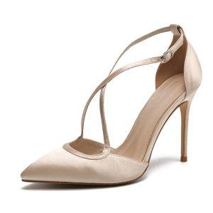 Simple Champagne Désinvolte Chaussures Femmes 2020 Cuir Satin X-Strap 10 cm Talons Aiguilles À Bout Pointu Talons Hauts
