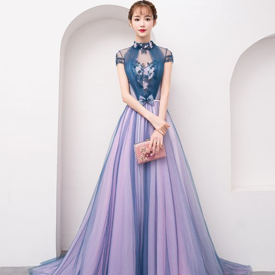 b7e38de7b3b Chinese style Navy Blue See-through Evening Dresses 2019 A-Line   Princess  High Neck Cap Sleeves Appliques Lace Sweep Train Ruffle Backless Formal  Dresses