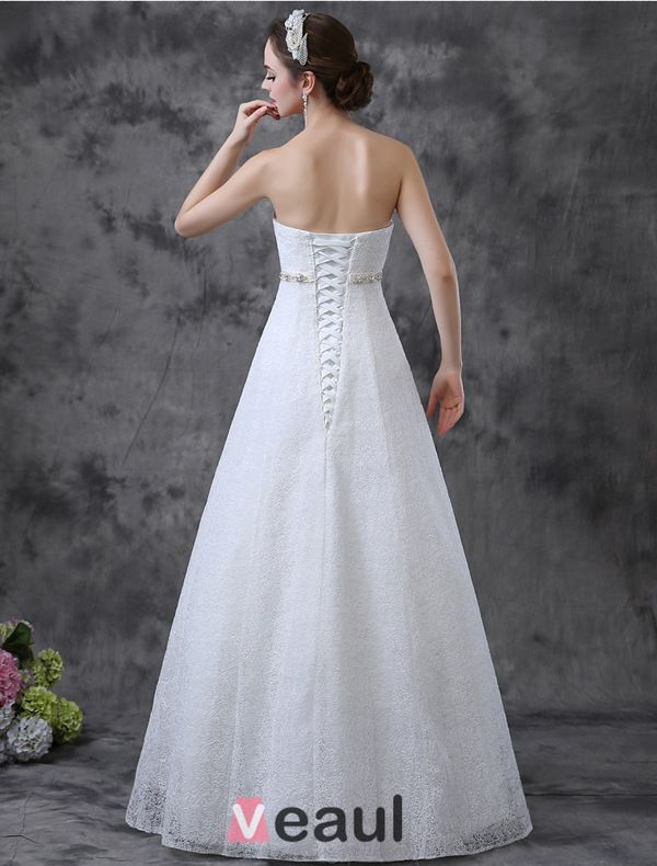 2015 Simple A-line Strapless Rhinestone Sash Lace Wedding Dress