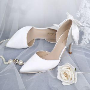 Elegant White Wedding Shoes 2019 Leather Satin Bow 8 cm Stiletto Heels Pointed Toe Wedding Pumps