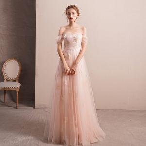Elegant Pearl Pink Evening Dresses  2019 A-Line / Princess Off-The-Shoulder Short Sleeve Appliques Lace Rhinestone Floor-Length / Long Ruffle Backless Formal Dresses