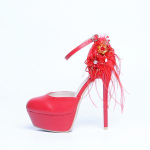 Fashion Red Wedding Shoes 2020 Feather Ankle Strap Pearl Rhinestone Sequins Lace Flower 14 cm Stiletto Heels Round Toe Wedding High Heels