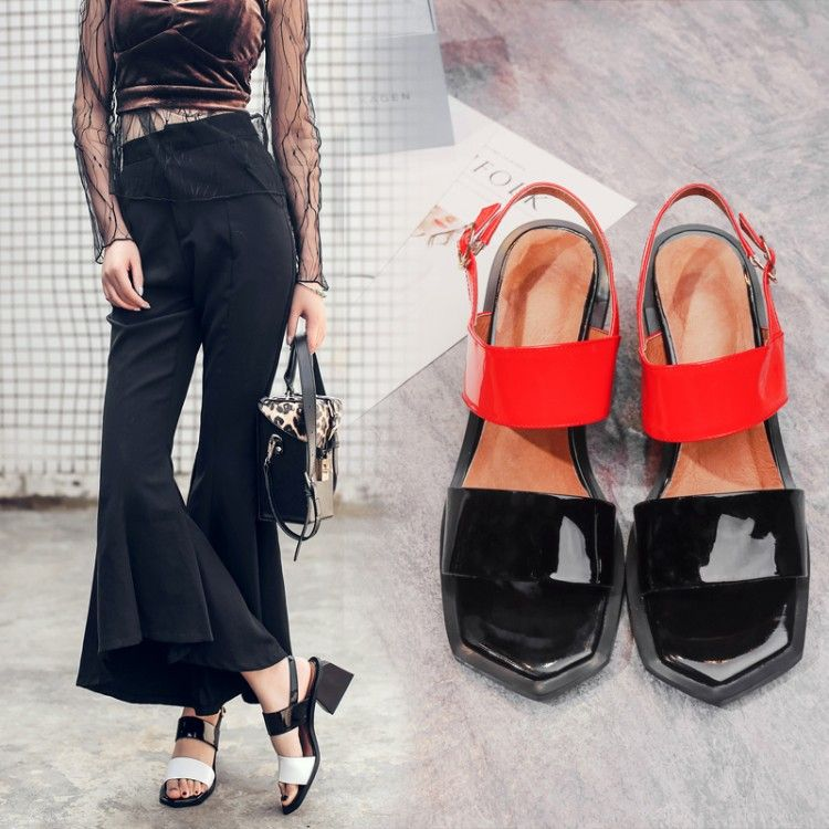 Chic / Beautiful Black Womens Shoes 2017 Leather Handmade  Mid Heels Thick Heels Open / Peep Toe Sandals