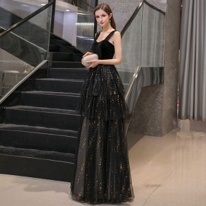Chic / Beautiful Black Evening Dresses  2020 A-Line / Princess Shoulders Sleeveless Gold Sequins Floor-Length / Long Ruffle Backless Formal Dresses