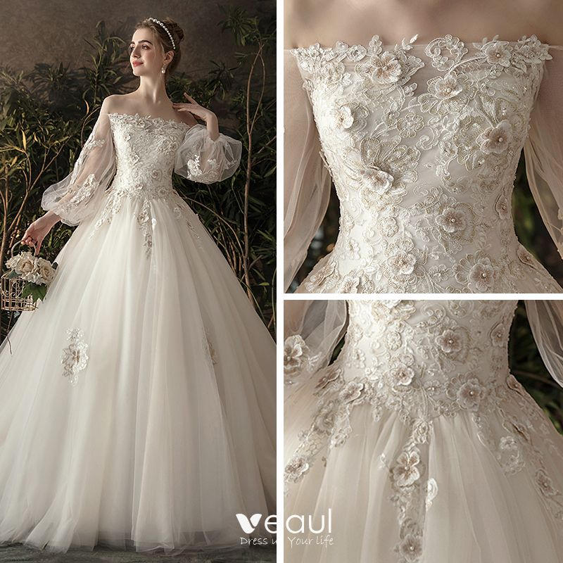 Dressv Ivory Wedding Dress Strapless Long Sleeves Chapel: Elegant Ivory See-through Wedding Dresses 2019 Princess