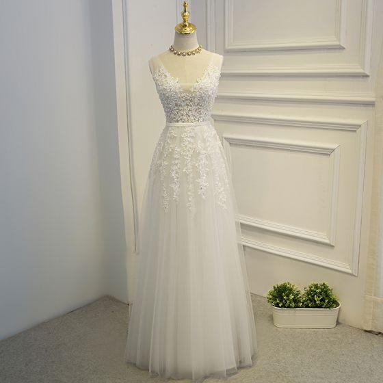Eleganckie Białe Sukienki Wizytowe 2017 Princessa Z Koronki Kwiat Perła Wiązane Cekiny Kótkie Rękawy Długie Sukienki Na Bal