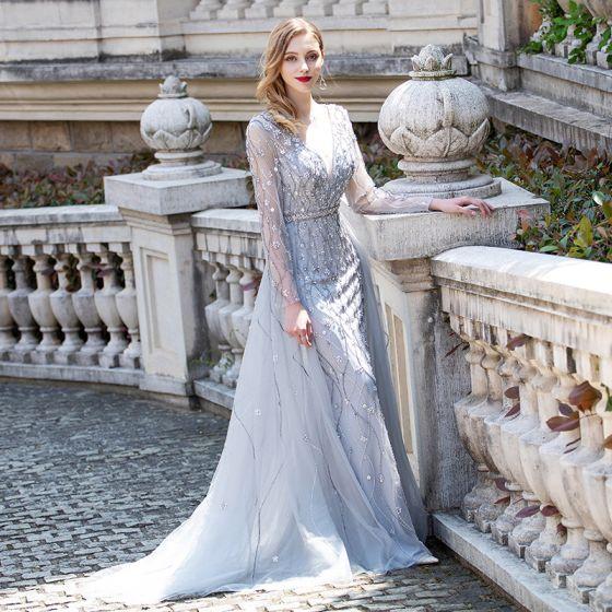 Luxe Gris Transparentes Robe De Soirée 2020 Princesse Col v profond Manches Longues Faux Diamant Perlage Longue Volants Robe De Ceremonie