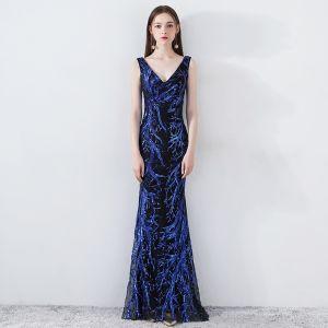 Schöne Königliches Blau Abendkleider 2019 Meerjungfrau V-Ausschnitt Ärmellos Pailletten Rückenfreies Lange Festliche Kleider